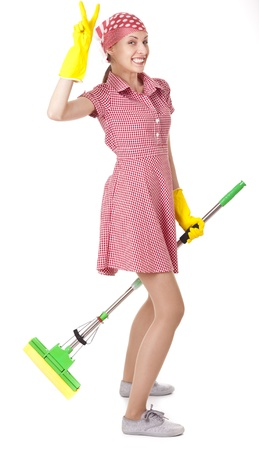 charwoman: Funny charwoman with mop on white Stock Photo