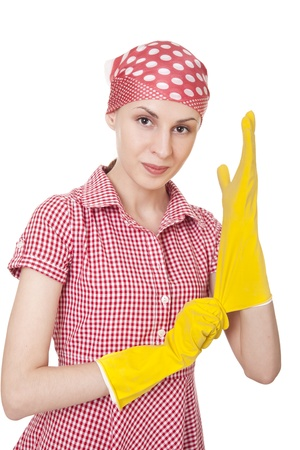 Maid woman is ready for cleaning photo