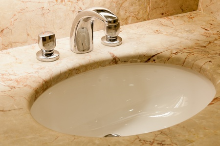 Faucet with two handles and white sink Stock Photo - 10957812