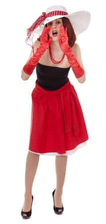 Shouting fashion girl in retro style with bright make-up and big hat on white background photo