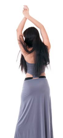 robe de soir�e: femme en vue de l'arri�re robe de soir�e isol� sur blanc