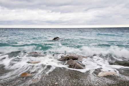 pebblestone: Dramatic storm clouds and sea, Black Sea, Ukraine Stock Photo