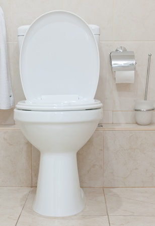 White clean toilet bowl in modern  bathroom photo