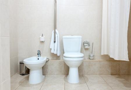 White clean toilet bowl and bidet in modern  bathroom Stock Photo - 11787022