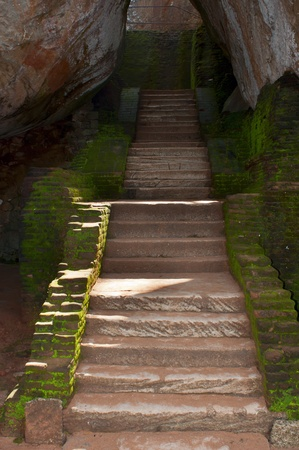 Ancient steps in rock fortress and palace on high Lion photo