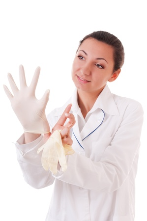 smock: Woman in doctors smock dress medical gloves isolated on white background