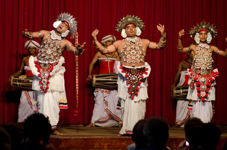 Kandy, Sri Lanka - December 7, 2011:  Show in traditional Sri Lankian theatre - drum, dance and singing. Editorial