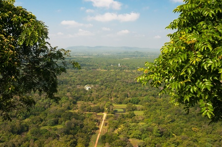 The gardens of Sigiriya, view from the summit of the Sigiriya rock in Sri Lanka, ancient fortress and buddhist monastery photo