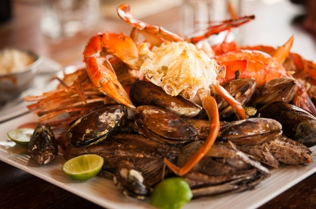 Dish with crab and mussels