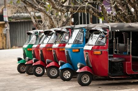 Tuk-tuk is the most popular transport type on Asian streets.  . Archivio Fotografico