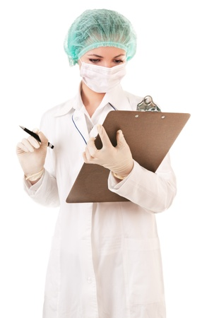 nurse cap: Infermiera serio con referto medico Archivio Fotografico