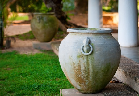 Big ancient vase in greek style for exterior photo