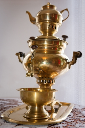 Traditional russian old samovar photo