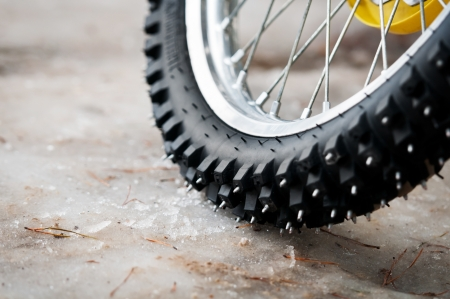 Tyre of motocross bike Stock fotó