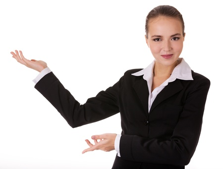certitude: Business woman with depostration gesture Stock Photo