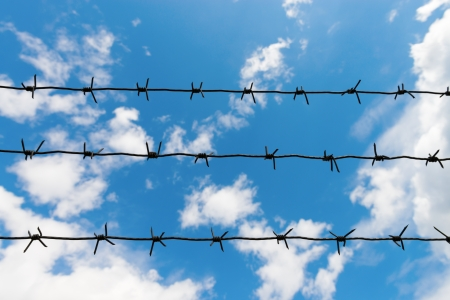 The other side of barbed wire is blue sky and freedom Stock Photo - 13915410