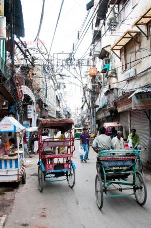 New Delhi, India, August 14, 2011- Rickshas on a street in old part of New Delhi