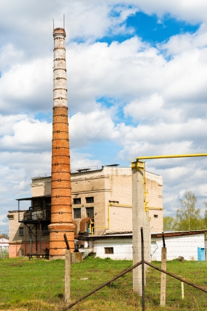 boiler house: Boiler house with high stack Stock Photo
