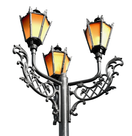 Antique metal street lamp isolated on white background Stock Photo - 14585803