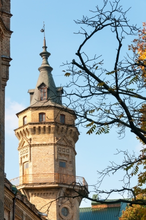 Vintage brick tower with autumnal branches on front and blue sky  Focus on the tower  photo