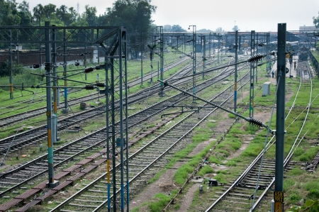 Amritsar, India - August 26, 2011: Tracks of the great Indian railway transport system on the station