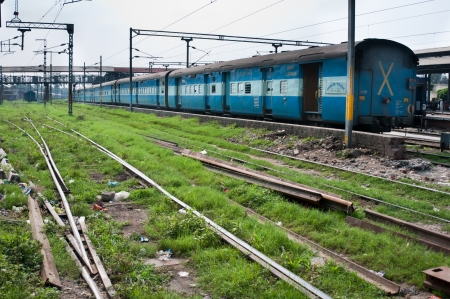 Amritsar, India - August 26, 2011: Train of the great Indian railway transport system without passengers on the station