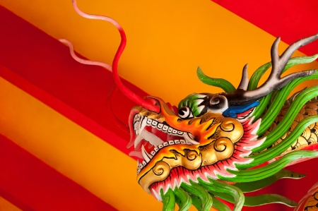 Chinese style dragon head with bright red and yellow background photo