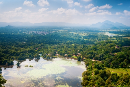 Valley in central part of Sri Lanka island, view from Sigiriya Lion rock photo