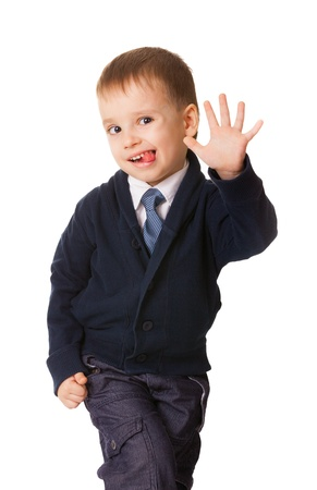 Funny small boy pull humorous faces, isolated on white background Stock Photo - 14798437
