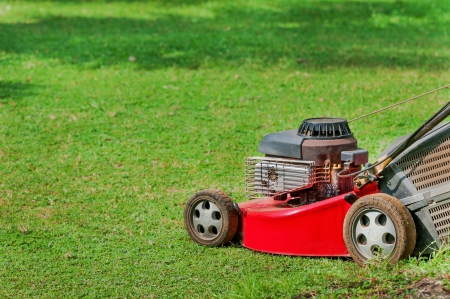 Red lawn mower on green grass in sunny day photo