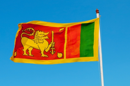 flagstaff: Sri Lanka flag on flagstaff  The lion represents the Sinhalese ethnicity and the bravery of the Sri Lankan nation  The orange stripe represents the Tamils, the green stripe represents Moors