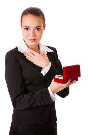 admired: Admired business woman with open jewel box. Isolated on white background