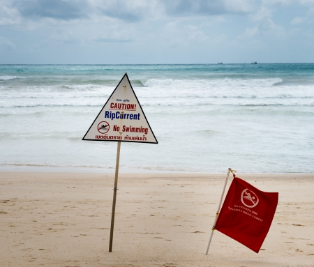 Warning signs about rip current at a beach with storm clouds on background Stock Photo - 14979959