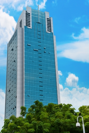 Skyscraper with blue sky on background and trees on front