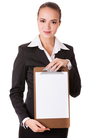 Smiling businesswoman holding a white clear paper on a holder isolated on white background photo