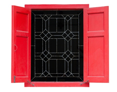 Red vintage window isolated on white background photo