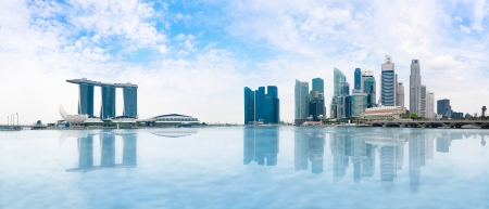 singapore city: Singapore skyline of business district and Marina Bay in day