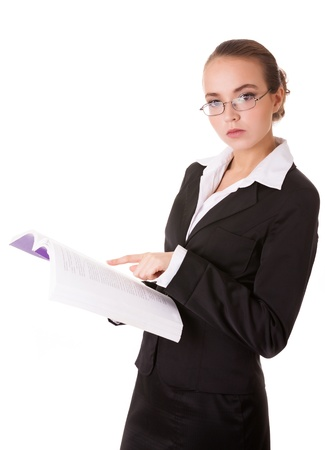 unworried: Teacher woman in business suit with book isolated on white background