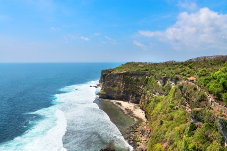 High cliffs above the blue sea, Nusa Dua, Bali, Indonesia