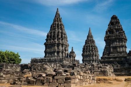 trimurti: Candi Prambanan or Candi Rara Jonggrang is a 9th-century Hindu temple compound in Central Java, Indonesia, dedicated to the Trimurti: the Creator (Brahma), the Preserver (Vishnu) and the Destroyer (Shiva). Editorial