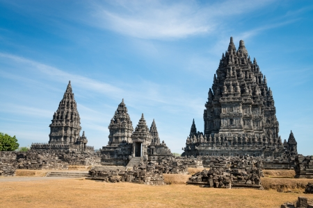 Candi Prambanan or Candi Rara Jonggrang is a 9th-century Hindu temple compound in Central Java, Indonesia, dedicated to the Trimurti: the Creator (Brahma), the Preserver (Vishnu) and the Destroyer (Shiva). Editoriali