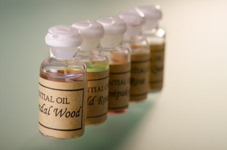 Range of different essential oils assortment Archivio Fotografico