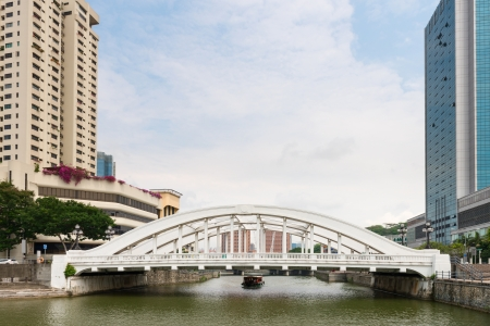 Skyline of Singapore financial district framing white Elgin Bridge and the Singapore River  photo