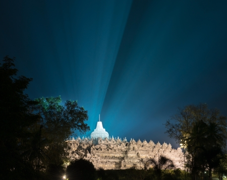 jogjakarta: Night illumination in Borobudur, or Barabudur, temple Jogjakarta, Java, Indonesia. It is a 9th-century Mahayana temple and the biggest  Buddhist Temple in Indonesia. Stock Photo