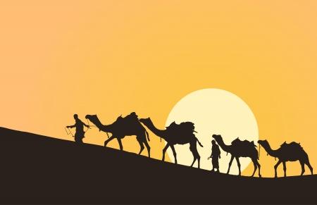 Roulotte con cammelli nel deserto con il sole sullo sfondo