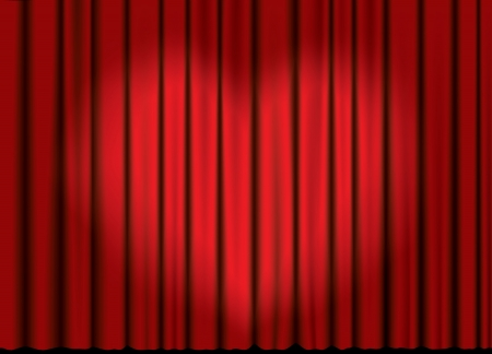Curtain from the theatre with a spotlight in heart form.  Illustration