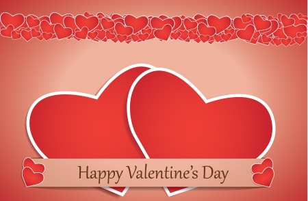 Valentines day card with paper heart, vector background Vector