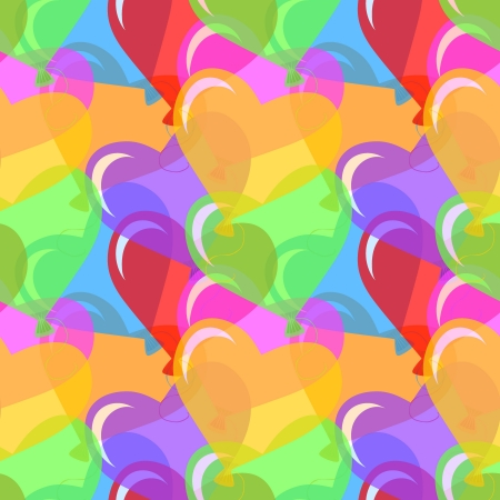 Vector seamless background with multicolored and heart shape balloons  Stock Vector - 17806336