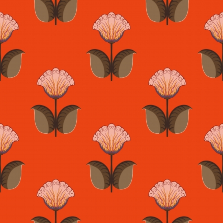 Vector seamless wall background with flowers on red background Vector