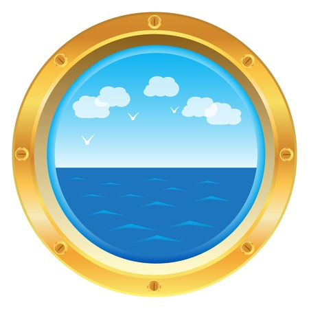 ship sky: Golden yellow porthole window with sea view on white background Illustration